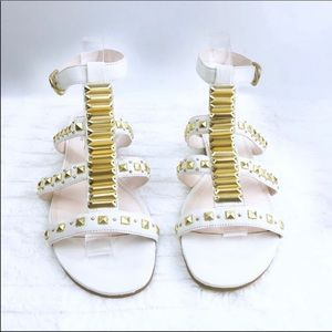 RACHEL RACHEL ROY Shera White Gold Flat Sandals